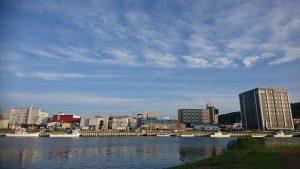 午後5時 中央橋付近の網走川