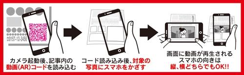 動画(AR)コードに対応した広告は、このように閲覧方法をイラスト付きで説明します