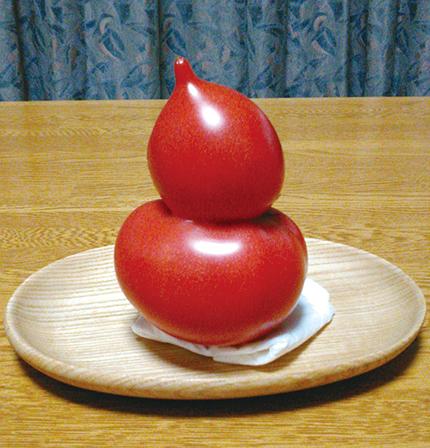 作品名『ひょうたんみたいなトマト』網走市・ともこさん 変わったトマトでしょう。我が家の畑で生まれたのです。