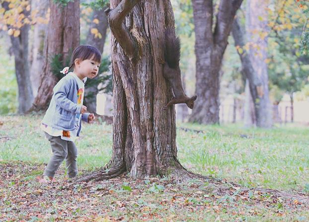 作品名『おいかけっこでかくれんぼ』北見市・2児の母 北網圏北見文化センターから外に出て「何かが前を走っていった!」と思ったらリスでした。リスを初めて見た娘は大興奮! 野付牛公園の森の中までおいかけっこしました。リスは得意の木登り、娘は走って探して…かわいい一人と一匹のかくれんぼでした。