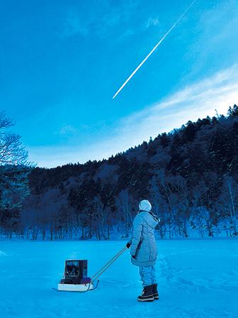 作品名『夜明けの挑戦…』北見市・石ちゃん 極寒の朝…小さくも手強い相手と勝負にチミケップ湖へ…ヒコーキ雲から運をもらった!